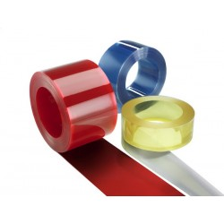 PVC závesy / Termozávesy - ( 2 x 200 mm ) ( červený )   do -5°C návin 50bm