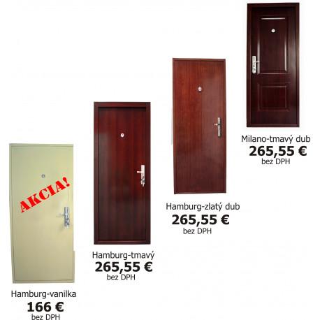 Vchodové dvere - celo-oceľové dvere ( tmavý dub )
